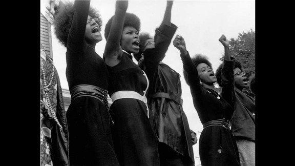 Black Panthers demonstrate in Oakland, California. The group created free breakfast programs for poor kids and free health clinics for the needy. It also produced a Black Panther newspaper that reaches thousands of readers at the group's peak.