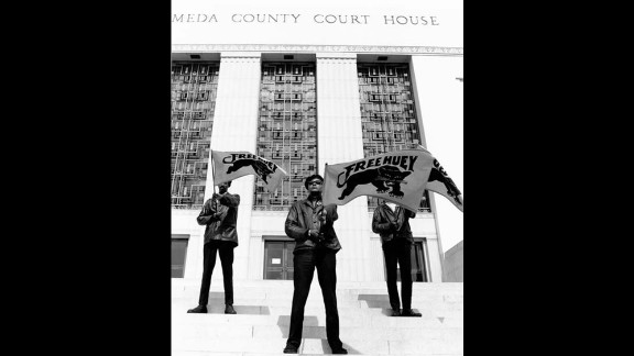 Black Panthers demonstrate at the  Alameda County Court House in Oakland in July 1968. There are still several Panthers serving time in prison 50 years after the group's formation.