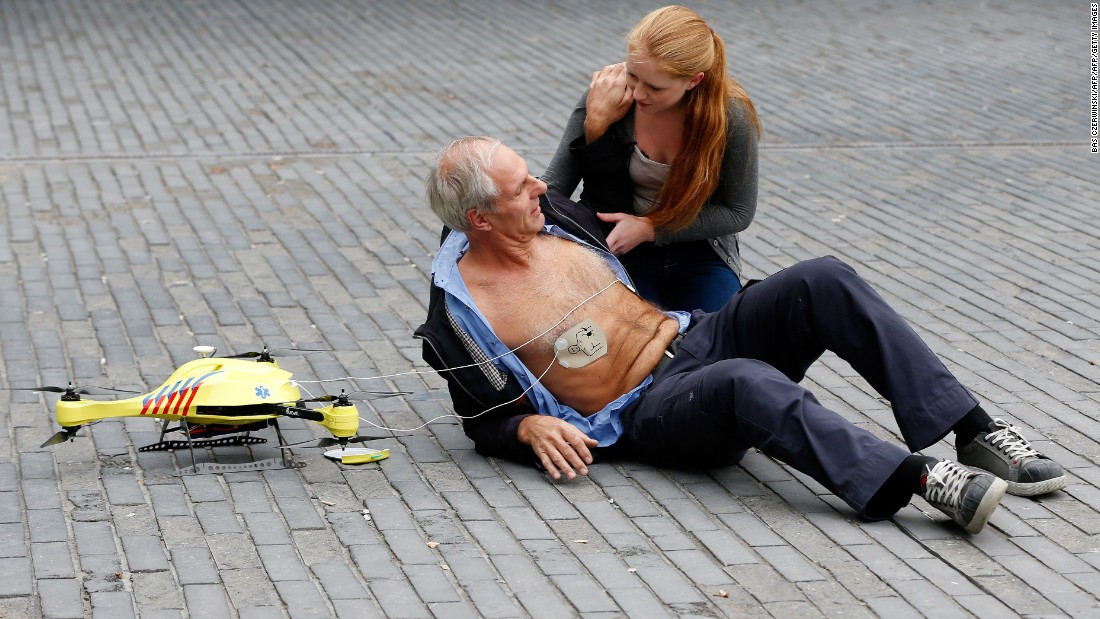 "Capable of speeds of 100 kmph (62 mph), Delft Technical University's <a href=""https://www.tudelft.nl/en/ide/research/research-labs/applied-labs/ambulance-drone/"" target=""_blank"">ambulance drone</a> prototype carries a defibrillator which can be dispatched for use in the event of a heart attack. <a href=""/2017/10/09/health/ambulance-drone-teching-care-of-your-health/index.html"" target=""_blank"">Read more.</a>"