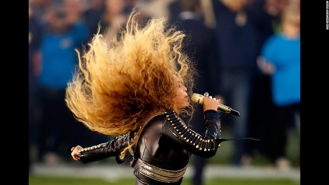 "Beyonce sings during <a href=""http://www.cnn.com/2016/02/07/entertainment/gallery/super-bowl-halftime-2016/index.html"" target=""_blank"">the Super Bowl 50 halftime show</a> on Sunday, February 7. Her performance -- with dancers in Black Panther-like attire -- <a href=""http://www.cnn.com/2016/02/09/entertainment/beyonce-boycott-super-bowl-feat/"" target=""_blank"">didn't sit well with everyone.</a> Others praised the pop star for <a href=""http://www.cnn.com/2016/02/08/politics/beyonce-super-bowl-black-lives-matter/"" target=""_blank"">the political messages</a> in her new single ""Formation."""