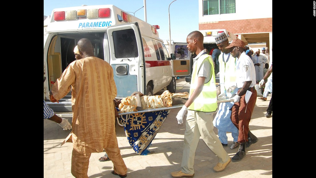 "Rescue workers in Maiduguri, Nigeria, transport a victim of <a href=""http://www.cnn.com/2016/02/11/africa/nigeria-suicide-bombing-boko-haram/"" target=""_blank"">a suicide bomb attack</a> on Wednesday, February 10. At least 58 people were killed and 78 were injured when two suicide bombers blew themselves up at a camp set up to shelter people from terrorism. The attacks are believed to be reprisals for a recent military offensive against Boko Haram, a military source said."