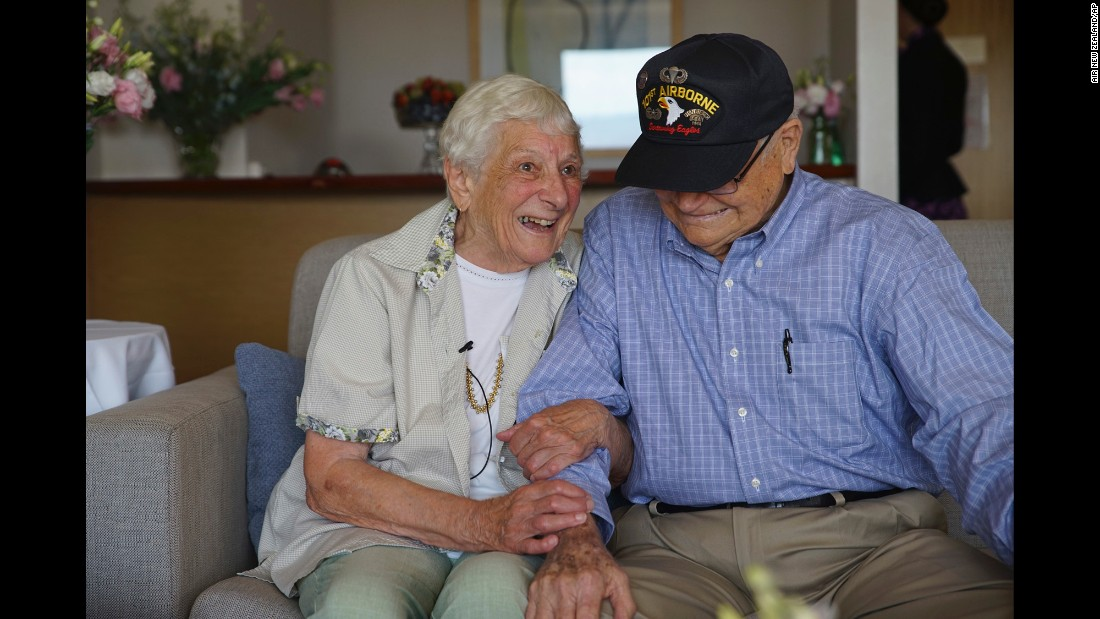 World War II veteran Norwood Thomas reunites with wartime girlfriend Joyce Morris in Adelaide, Australia, on Wednesday, February 10. They hadn't seen each other in more than 70 years. Thomas was a 21-year-old paratrooper when he met Morris in London shortly before D-Day. She was 17 at the time.