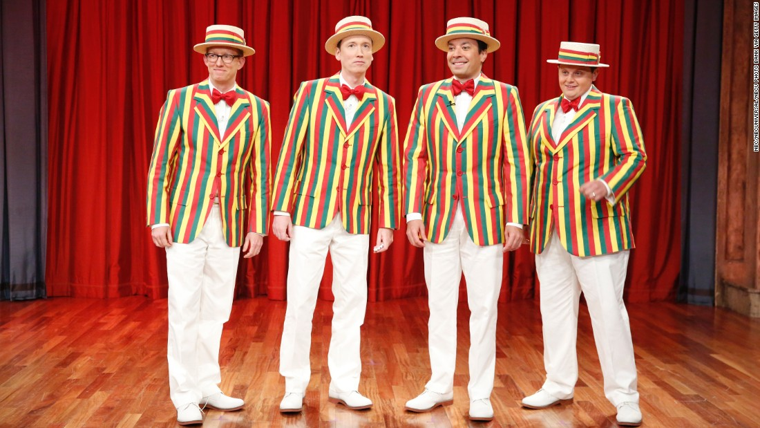 "Jimmy Fallon (second from right) sings barbershop versions of rock, hip-hop and R&B hits with a quartet called the Ragtime Gals that's made multiple appearances on ""The Tonight Show Starring Jimmy Fallon."" Wearing comically colorful jackets and matching hats, the Ragtime Gals have been joined by such guest vocalists as Justin Timberlake, Kevin Spacey, Sting and Joseph Gordon-Levitt. Their repertoire includes Timberlake's ""SexyBack,"" ""Talk Dirty"" by Jason Derulo, ""Roxanne"" by the Police and Rihanna's ""Bitch Better Have my Money."""