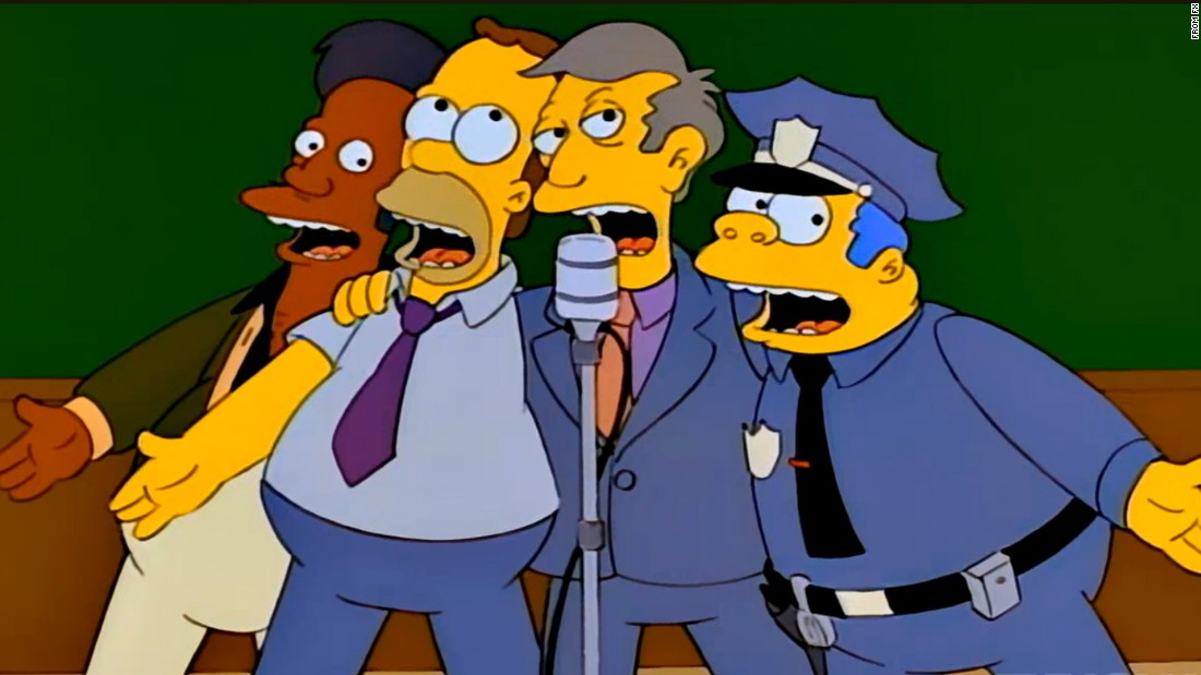 "Homer Simpson crooned a hit song, ""Baby on Board"" with a barbershop group called the Be Sharps in a 1993 episode of ""The Simpsons."" The episode follows the quartet, featuring Homer, Apu, Barney and Principal Skinner, as their tune climbs the pop charts and wins them Beatles-like celebrity. Fame is followed by discord after Barney begins making music with his girlfriend, a performance artist. The episode featured a Ringo Starr cameo and ""Baby on Board"" was performed by a real-life barbershop quartet, the Dapper Dans of Disneyland."