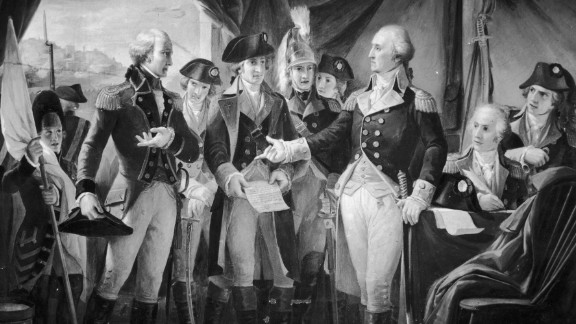 In this artistic rendering, in 1789, George Washington, right, declines to accept terms, after the siege of Yorktown, from British Gen. Charles Cornwallis. The British army had been so plagued by malaria that at any given point in the summer, half of their forces were immobilized.