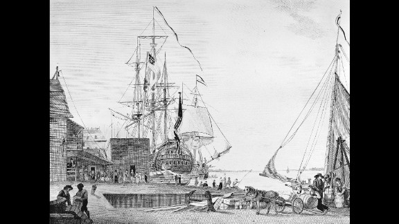 In the summer of 1793, a yellow fever epidemic had taken hold of Philadelphia, then the largest city in the United States. It killed one-tenth of the city's 45,000 people. This 1800 engraving by William Birth shows the Arch Street Ferry in Philadelphia.