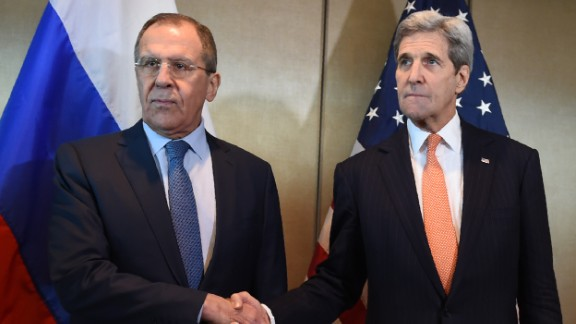 ALTERNATIVE CROP - Russian Foreign Minister Sergei Lavrov (L) and US Secretary of States John Kerry shake hands as they meet for diplomatic talks on February 11, 2016 in Munich, southern Germany. Russia said it was ready to discuss a ceasefire in Syria as foreign ministers gathered in Munich in a bid to kick-start peace talks derailed by the regime onslaught on the besieged city of Aleppo. / AFP / Christof STACHE        (Photo credit should read CHRISTOF STACHE/AFP/Getty Images)