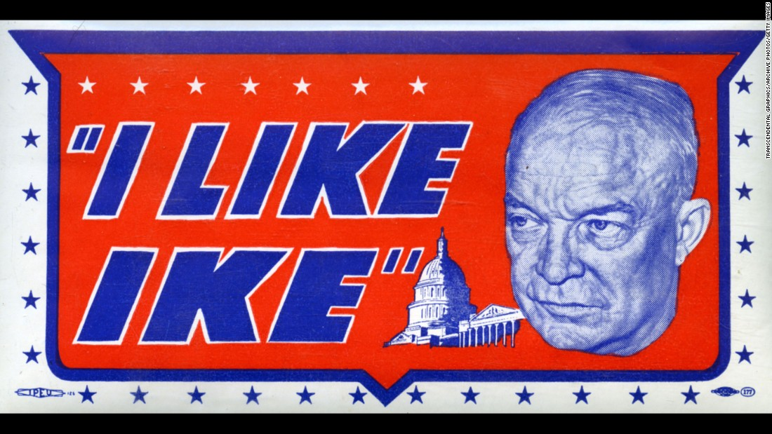 """I Like Ike"" decal from the 1952 presidential campaign, showing a close-up portrait of Dwight D. Eisenhower, the popular World War II general who went on to serve two terms as president."