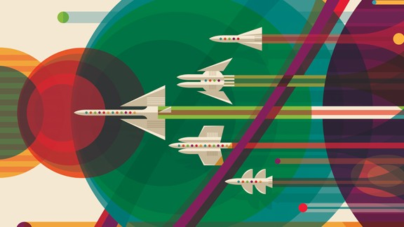 """The Studio at JPL designed retro interplanetary travel posters featuring our solar system and exoplanets. Once every 175 years Jupiter, Saturn, Uranus and Neptune align. NASA's <a href=""""http://voyager.jpl.nasa.gov/science/planetary.html"""" target=""""_blank"""" target=""""_blank"""">Voyager mission</a> was designed to take advantage of this alignment in the late 1970s and the 1980s."""