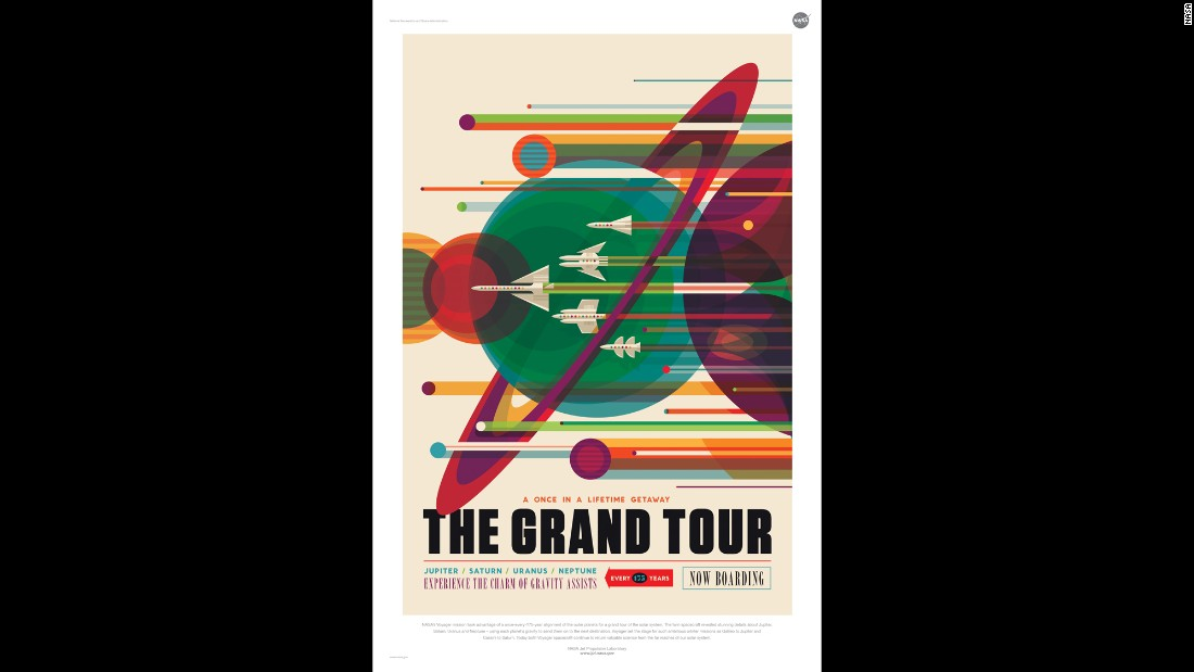 "The Studio at JPL designed retro interplanetary travel posters featuring our solar system and exoplanets. Once every 175 years Jupiter, Saturn, Uranus and Neptune align. NASA's <a href=""http://voyager.jpl.nasa.gov/science/planetary.html"" target=""_blank"">Voyager mission</a> was designed to take advantage of this alignment in the late 1970s and the 1980s."