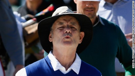Comedian Bill Murray reacts to a shot out of a bunker on the second hole  during the 3M Celebrity Challenge prior to the AT&T Pebble Beach National Pro-Am at Pebble Beach Golf Links on February 10, 2016 in Pebble Beach, California.