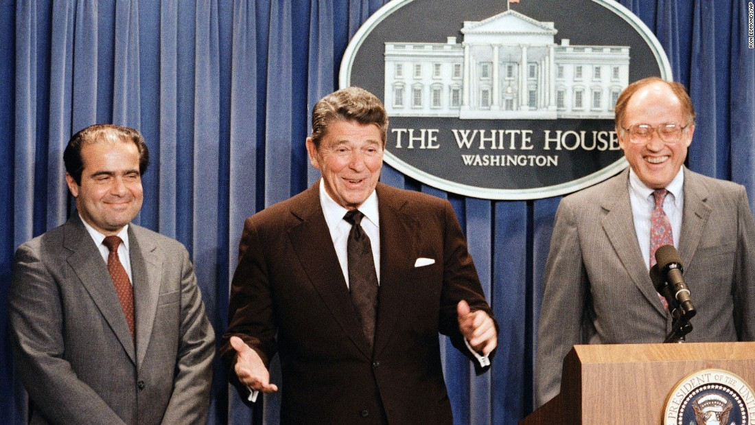 President Ronald Reagan announces the nomination of Scalia to the Supreme Court on June 17, 1986, as a result of Chief Justice Warren E. Burger's retirement.