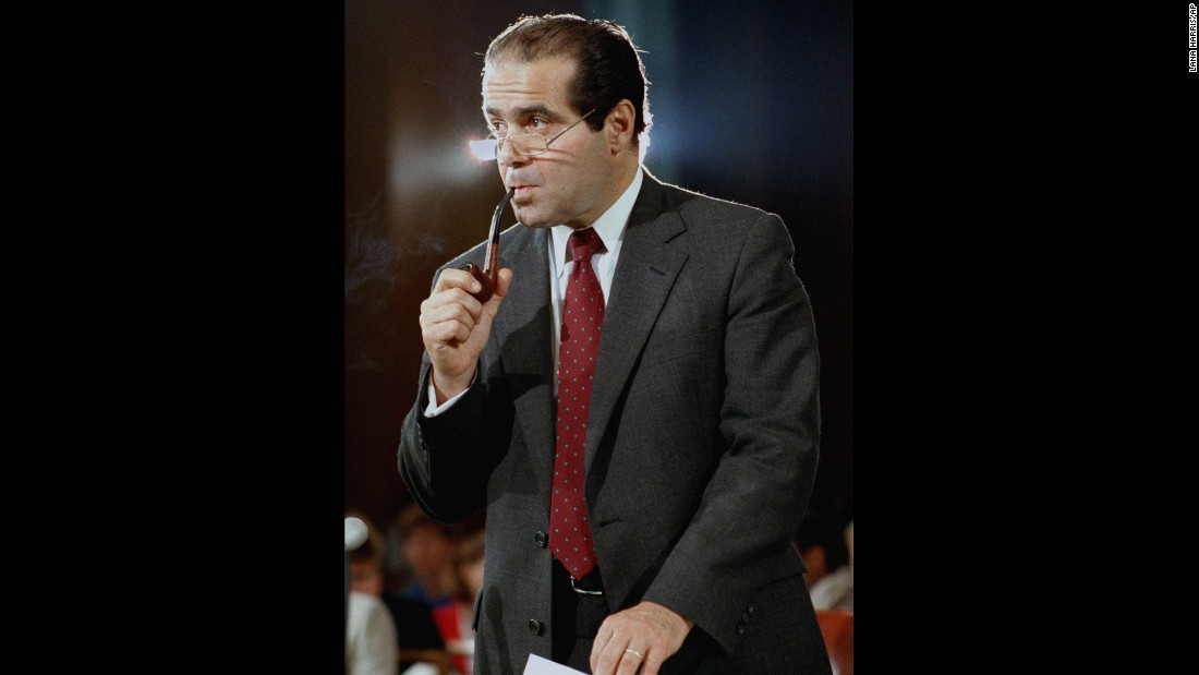 Scalia appears before the Senate Judiciary Committee during his confirmation hearings in Washington on August 6, 1986.