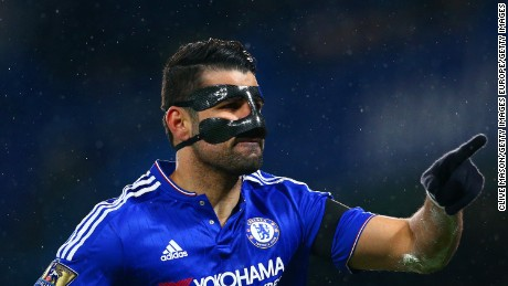 Diego Costa celebrates scoring his team's first goal against Newcastle United.