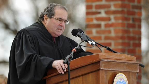 Scalia conducts a naturalization ceremony for 16 new U.S. citizens during the commemoration of the 150th anniversary of President Abraham Lincoln's historic Gettysburg Address on November 19, 2013, at Gettysburg National Military Park in Gettysburg, Pennsylvania.
