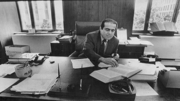 Scalia works in  his office in Washington on July 28, 1986. Scalia, who was appointed in 1986, was the longest-serving justice on the Supreme Court.