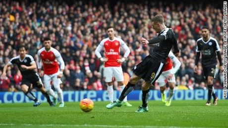 Jamie Vardy blasted Leicester City ahead from the penalty spot after being pulled down by Nacho Monreal.