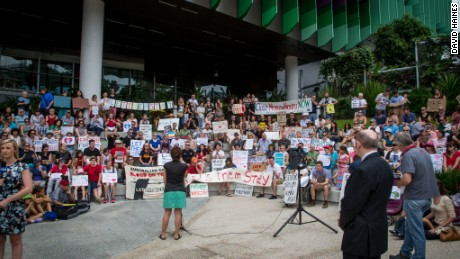 "Protesters for the #LetThemStay campaign stage rally for ""Baby Asha"" on Sunday, February 14, 2016."