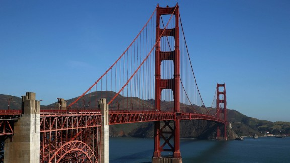 A view of the Golden Gate Bridge on April 27, 2015 in San Francisco, California.