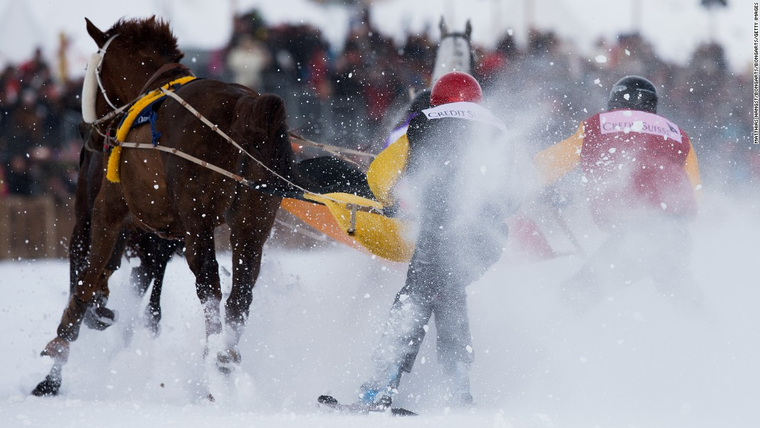 """Skijoring is a truly exciting race and exclusive to St. Moritz,"" Sala says. ""Eight to 10 fearless drivers on skis pulled by their racehorses at 30-40 mph over a 1.67-mile track -- you can imagine how difficult it is to transmit orders to the horse through a five meter rope!"""