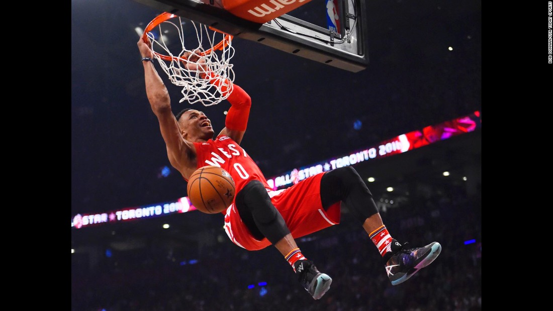 Russell Westbrook throws down a dunk during the NBA All-Star Game on Sunday, February 14. The Oklahoma City guard had 31 points, eight rebounds, five assists and five steals as he won MVP for the second straight year.