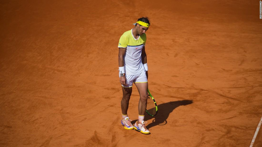 Rafael Nadal appears dejected during his Argentina Open loss to Dominic Thiem on Saturday, February 13. Thiem advanced to the tournament final, where he defeated Nicolas Almagro.
