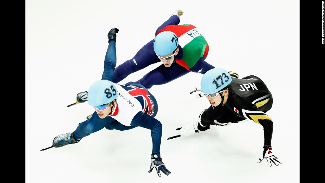 Great Britain's Richard Shoebridge, left, competes with Italy's Andrea Cassinelli and Japan's Dan Iwasa at a World Cup speed-skating event in Dordrecht, Netherlands, on Saturday, February 13.