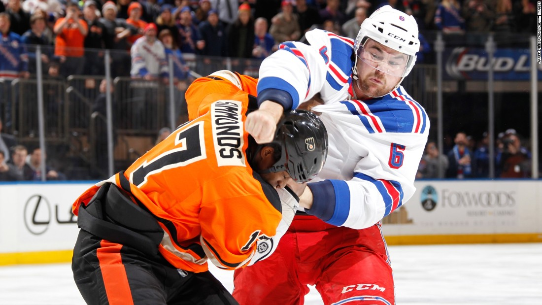 Philadelphia's Wayne Simmonds fights Dylan McIlrath of the New York Rangers during an NHL game in New York on Sunday, February 14.