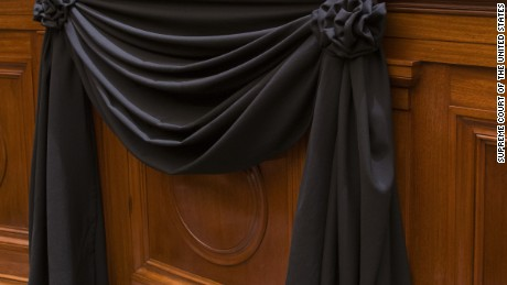 Supreme Court Justice Antonin Scalia's Bench Chair draped in black