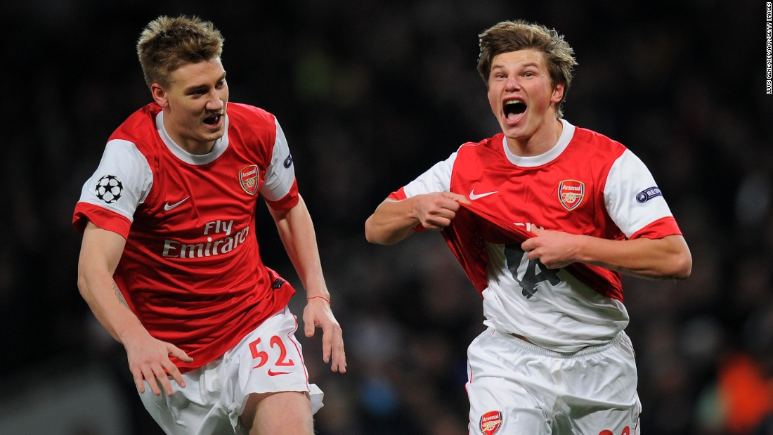The diminutive Russian scored some pivotal goals at Arsenal -- none bigger than his Champions League winner against Barcelona in 2011 (which he is seen celebrating on the right, with Nicklas Bendtner). Arshavin was bought for a then-club record fee of £14.03 from Zenit St. Petersburg in 2008. After scoring 23 goals in 105 appearances for the Gunners, he returned to Zenit on a free transfer in 2013.
