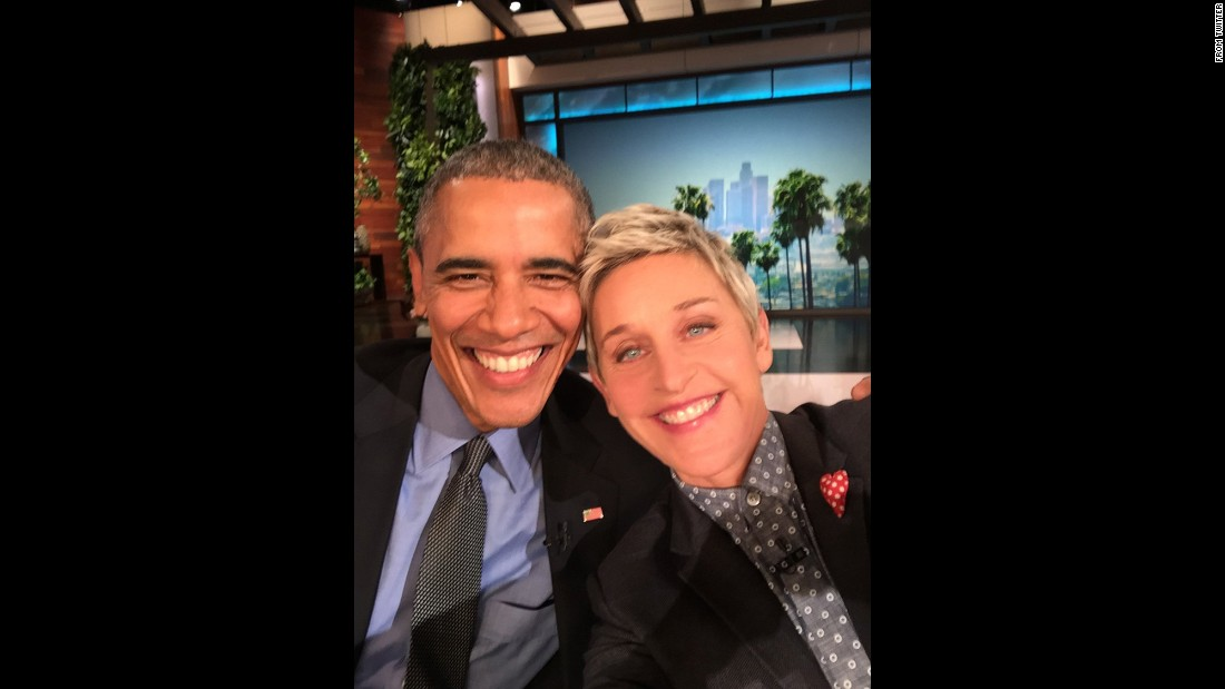 "U.S. President Barack Obama poses with Ellen DeGeneres after she interviewed him on Thursday, February 11. ""Selfie with the Chief,"" <a href=""https://twitter.com/TheEllenShow/status/697948221125996544"" target=""_blank"">she tweeted.</a>"