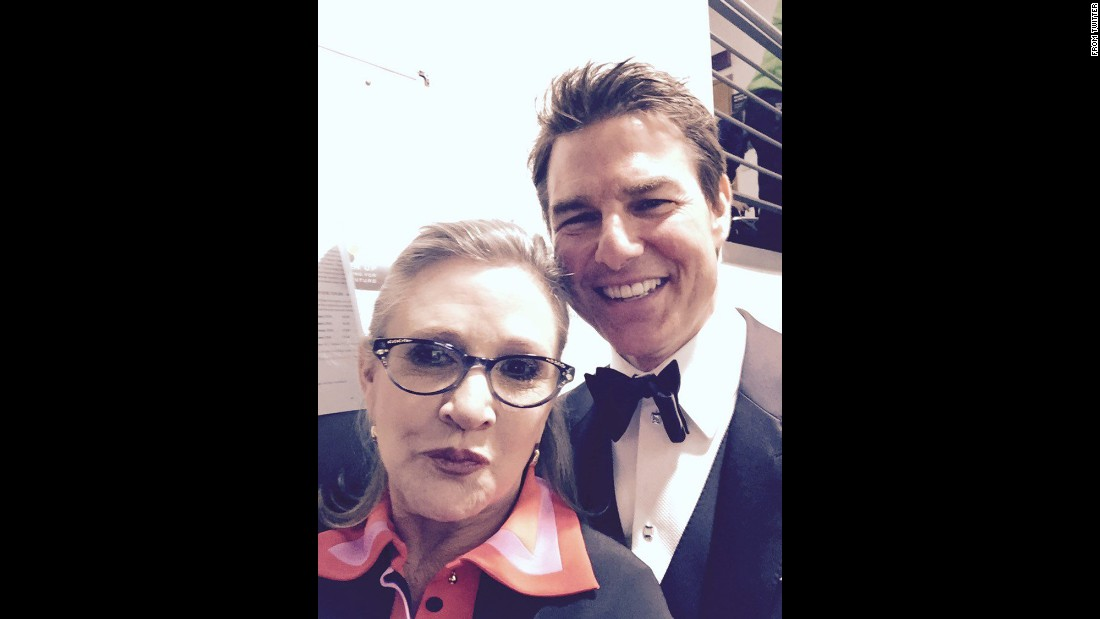 "Actress Carrie Fisher <a href=""https://twitter.com/carrieffisher/status/698987599763886080"" target=""_blank"">tweeted several selfies</a> with actor Tom Cruise as she attended the BAFTA Awards on Sunday, February 14. ""Took my first TRUE selfie with Tom Cruise ... So down to earth I'll be wiping this dirt off of me for WEEKS,"" she said."