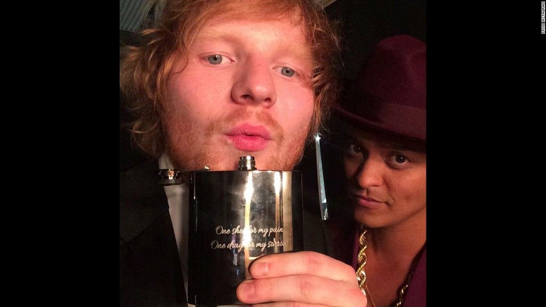 "Singers Ed Sheeran, left, and Bruno Mars <a href=""https://www.instagram.com/p/BB1T9OdO87B/"" target=""_blank"">take a photo together</a> after the Grammy Awards on Monday, February 15. Sheeran won song of the year for ""Thinking Out Loud."" ""Uptown Funk,"" Mars' collaboration with Mark Ronson, won record of the year. <a href=""http://www.cnn.com/2016/02/15/entertainment/gallery/grammy-winners-2016/index.html"" target=""_blank"">See other major winners</a>"