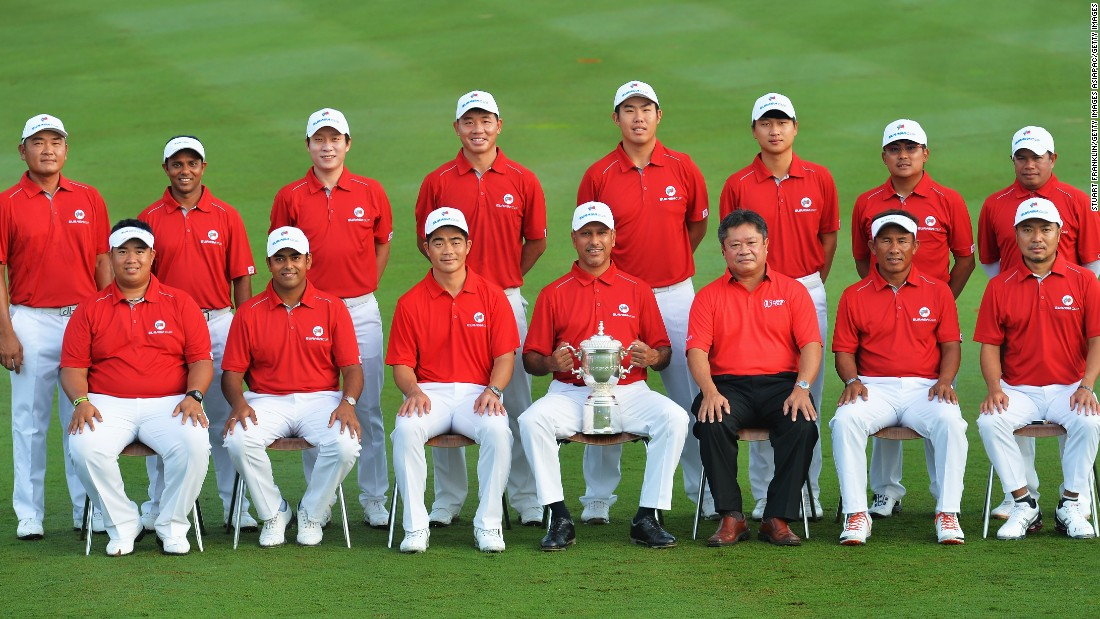Lahiri (second from left, front row) is a fixture on cup teams representing Asia. He is pictured with his team prior to the start of the EurAsia Cup on January 14, 2016 in Kuala Lumpur, Malaysia.