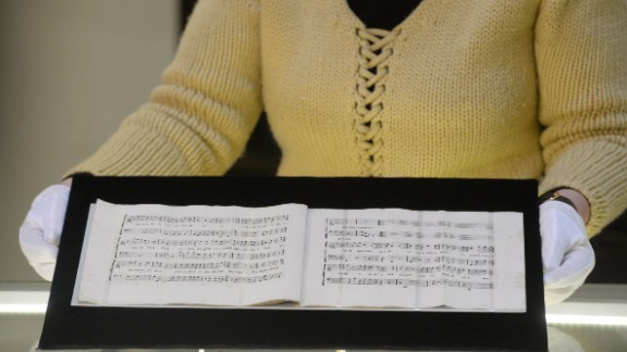 The newly-discovered sheets of music written by Austrian composer Wolfgang Amadeus Mozart.