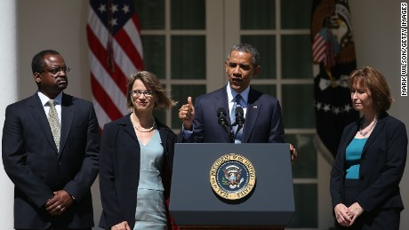 U.S. President Barack Obama speaks while nominating Cornelia T. L. Pillard (2nd-L), a law professor, Patricia Ann Millett (R), an appellate lawyer, and Robert L. Wilkins (L),  to become federal judges, during an event in the Rose Garden of the White House June 4, 2013 in Washington, DC.