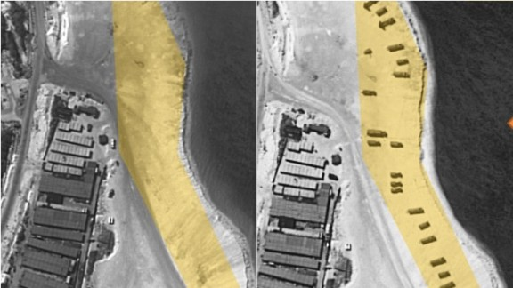 A satellite image of Woody Island, part of the disputed Paracel chain in the South China Sea, is pictured left, on February 3, 2015, and right, on February 14. ImageSat says image from February 14 shows the deployment of weapon launchers and support vehicles.