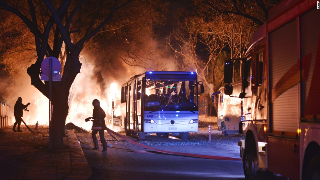 "Firefighters work at the scene of <a href=""http://www.cnn.com/2016/02/17/world/gallery/ankara-explosion/index.html"" target=""_blank"">a deadly explosion</a> in Ankara, Turkey, on Wednesday, February 17. The explosion hit three military vehicles and a private vehicle near parliament buildings, reported Turkey's semiofficial Anadolu news agency. The cause of the blast wasn't immediately available."