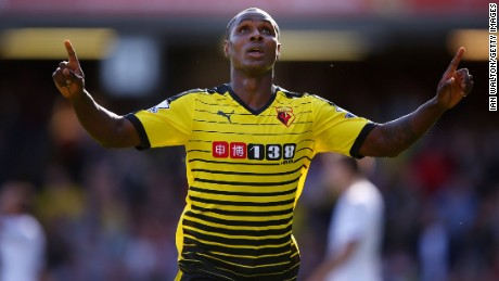 "Ighalo celebrates with his classic pose after scoring against Swansea City on Semptember 12, 2015. It's thought to be a reference to his devoted faith - ""Without God, I would be nothing,"" he said."
