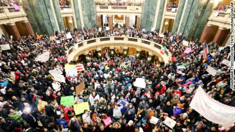 Thousands of Latinos, immigrants and their supporters congregate inside the Wisconsin State Capitol in Madison to protest legislative bills they believe to be anti-immigration on February 18, 2016.