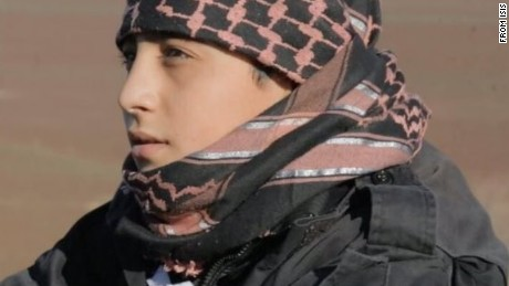 This ISIS propaganda photo shows child soldier Abu Imara al Omri before he blew himself up