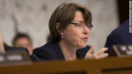 Committee vice-chair Sen. Amy Klobuchar questions Federal Reserve Bank Chairwoman Janet Yellen as she testifies to the Joint Economic Committee during a hearing entitled 'The Economic Outlook,' on Capitol Hill, May 7, 2014 in Washington, DC.