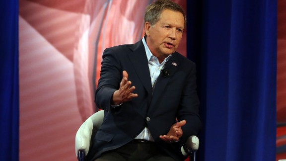 COLUMBIA, SC - FEBRUARY 18:  Republican presidential candidate, Ohio Gov. John Kasich answers a voter's question in a CNN South Carolina Republican Presidential Town Hall with host Anderson Cooper on February 18, 2016 in Columbia, South Carolina. The primary vote in South Carolina is February 20.  (Photo by Spencer Platt/Getty Images)