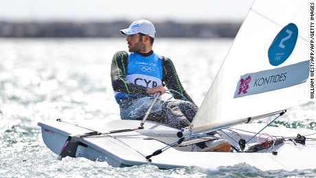 Cyprus's Pavlos Kontides sails to the silver medal in the Laser sailing class at the London 2012 Olympic Games, in Weymouth on August 6, 2012.