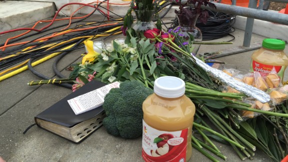 Outside the Supreme Court on February 19, 2016, mourners leave flowers and jars of applesauce — a nod to an Justice Antonin Scalia