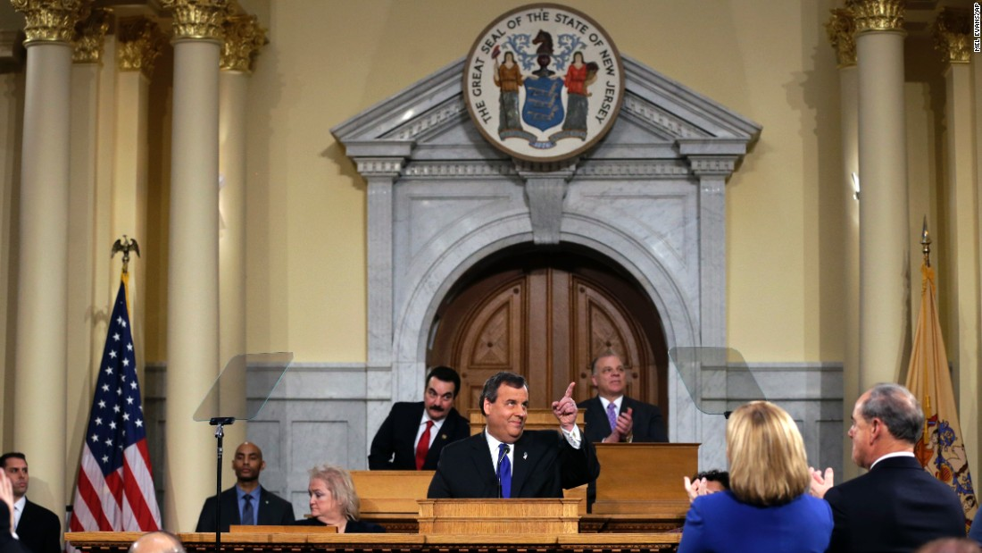 New Jersey Gov. Chris Christie gestures as he delivers his budget at the Statehouse in Trenton, New Jersey, on Tuesday, February 16. Christie recently suspended his campaign for the presidency.