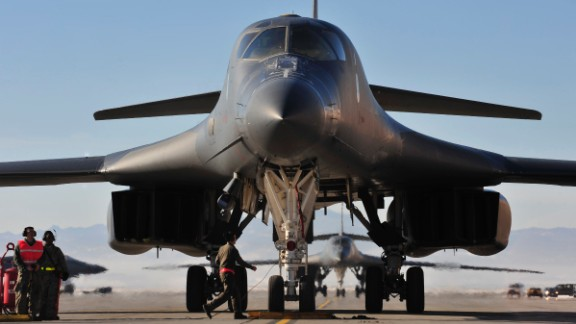 A B-1 taxis at Ellsworth Air Force Base, South Dakota, in January 2016.