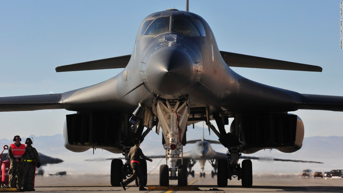 The four-engine jet can fly at 900 mph and carry the largest payload of bombs and missiles in the Air Force inventory. The Air Force has 62 B-1Bs in the fleet.