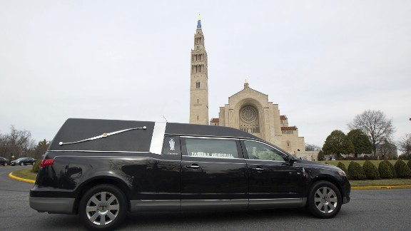 The hearse carrying Scalia