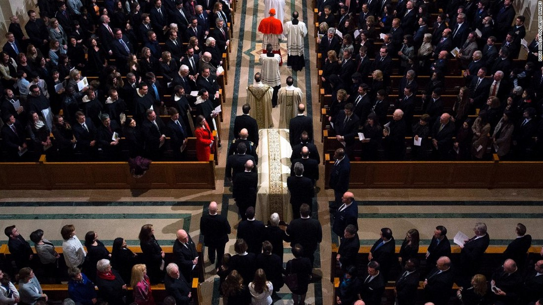 Scalia's casket is taken into the Basilica of the National Shrine of the Immaculate Conception on February 20 in Washington.